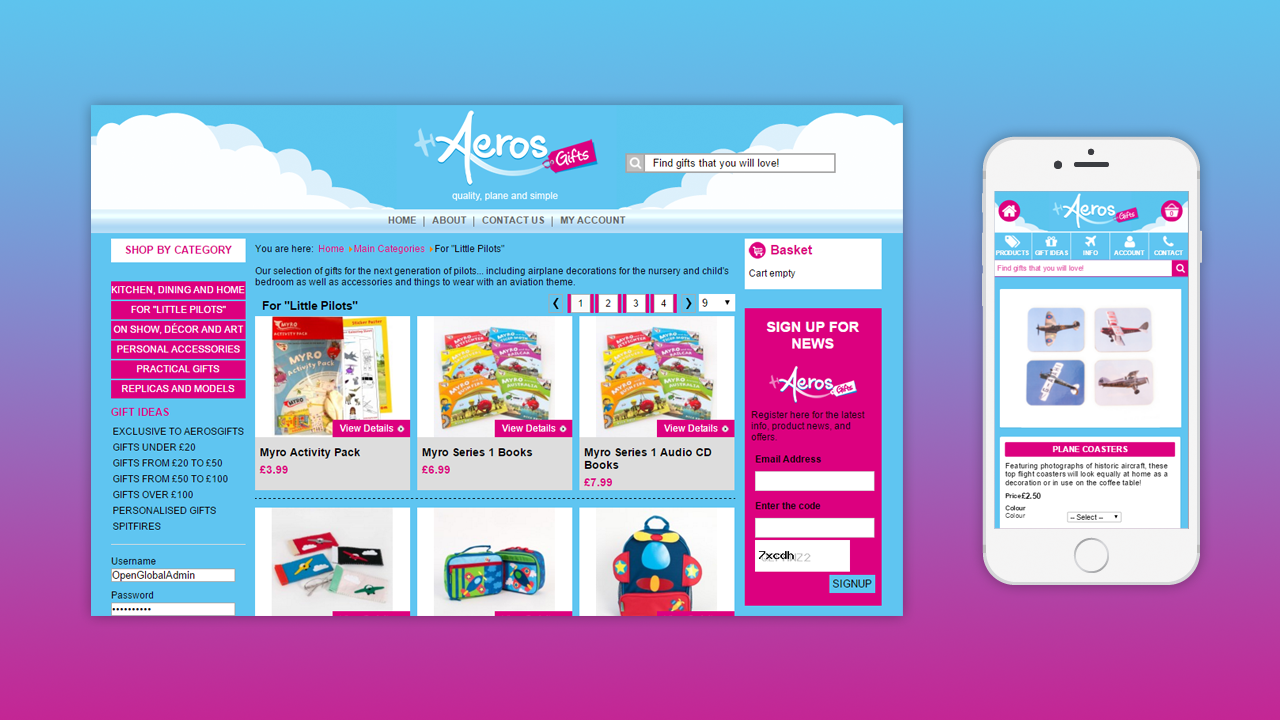 Aeros Gifts ECommerce Website by OpenGlobal ECommerce