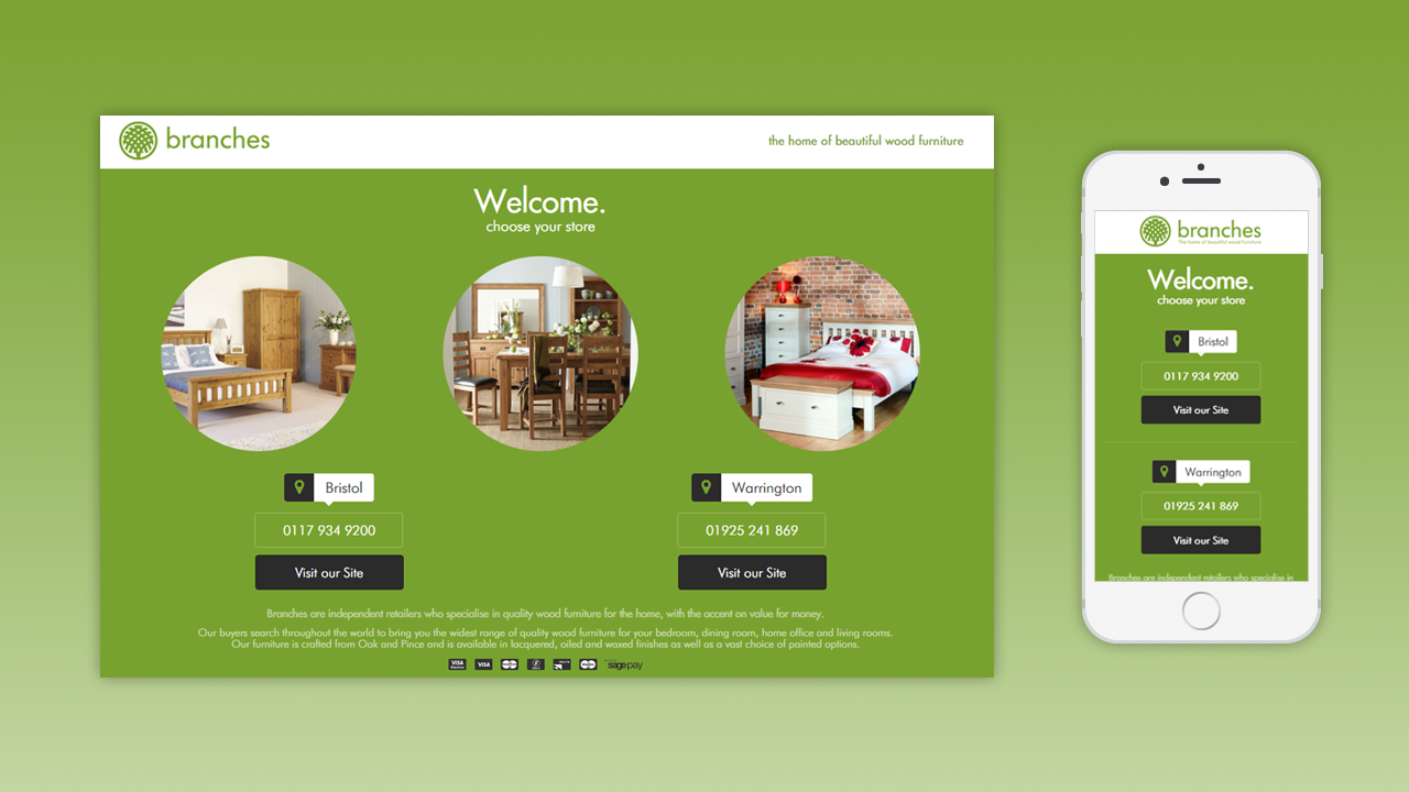 Branches Furtniture Web Design by OpenGlobal ECommerce