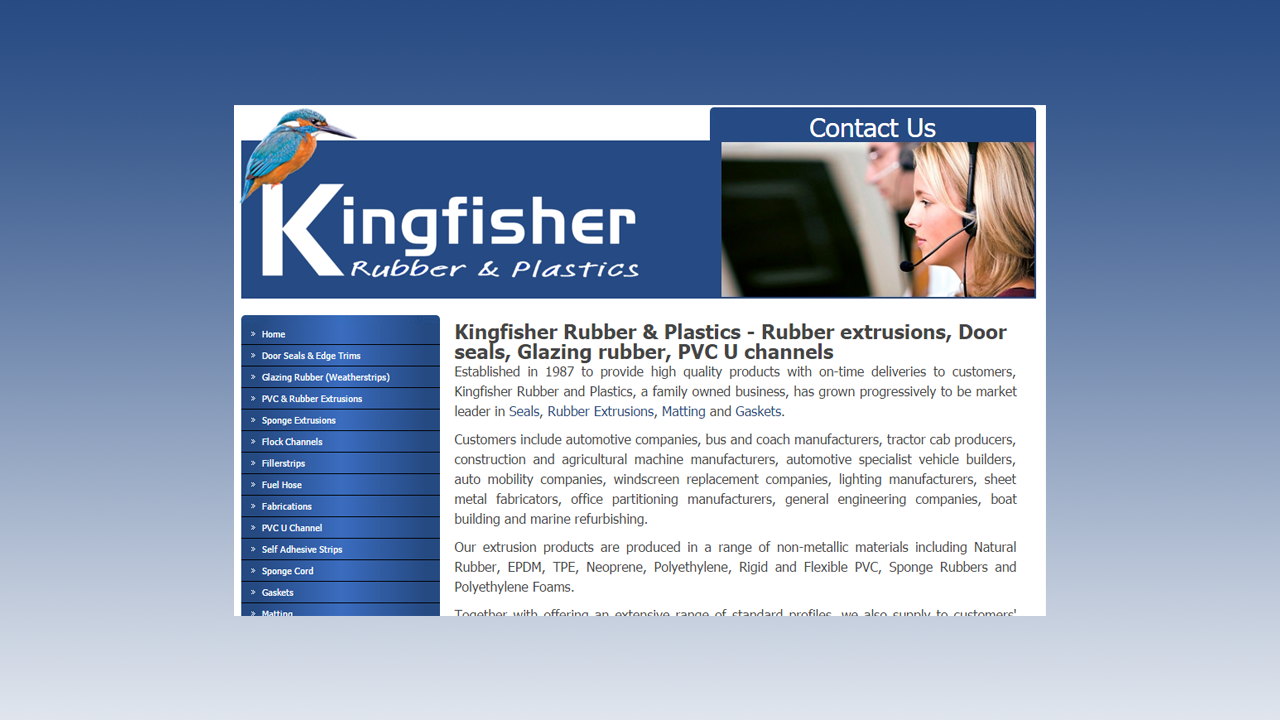 Kingfisher Rubber Web Design by OpenGlobal ECommerce