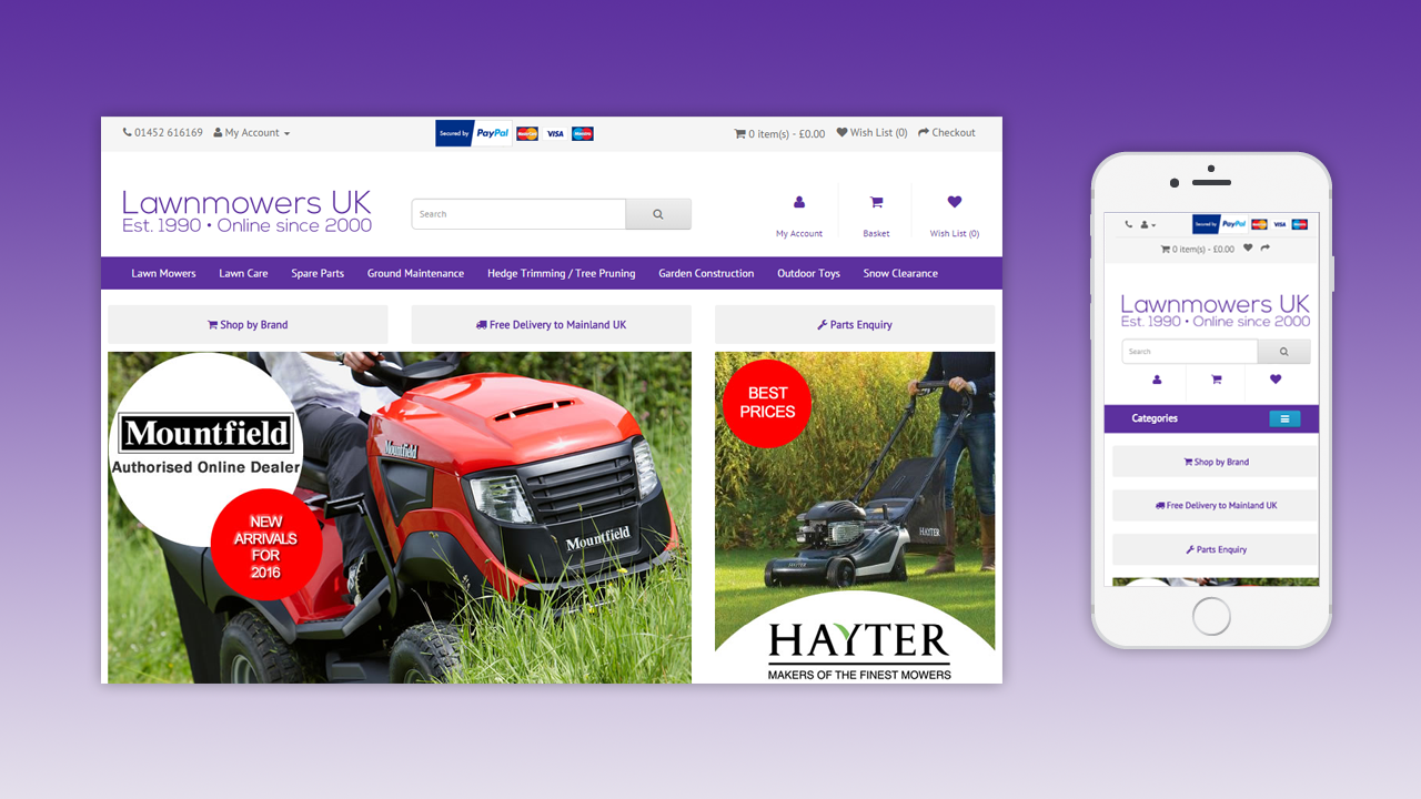 LawnmowersUK ECommerce Website by OpenGlobal ECommerce