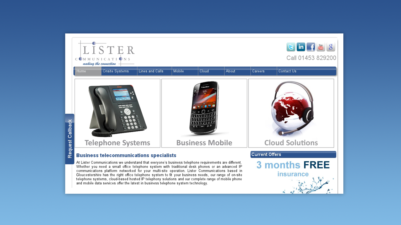 Lister Commmunications Web Design by OpenGlobal ECommerce
